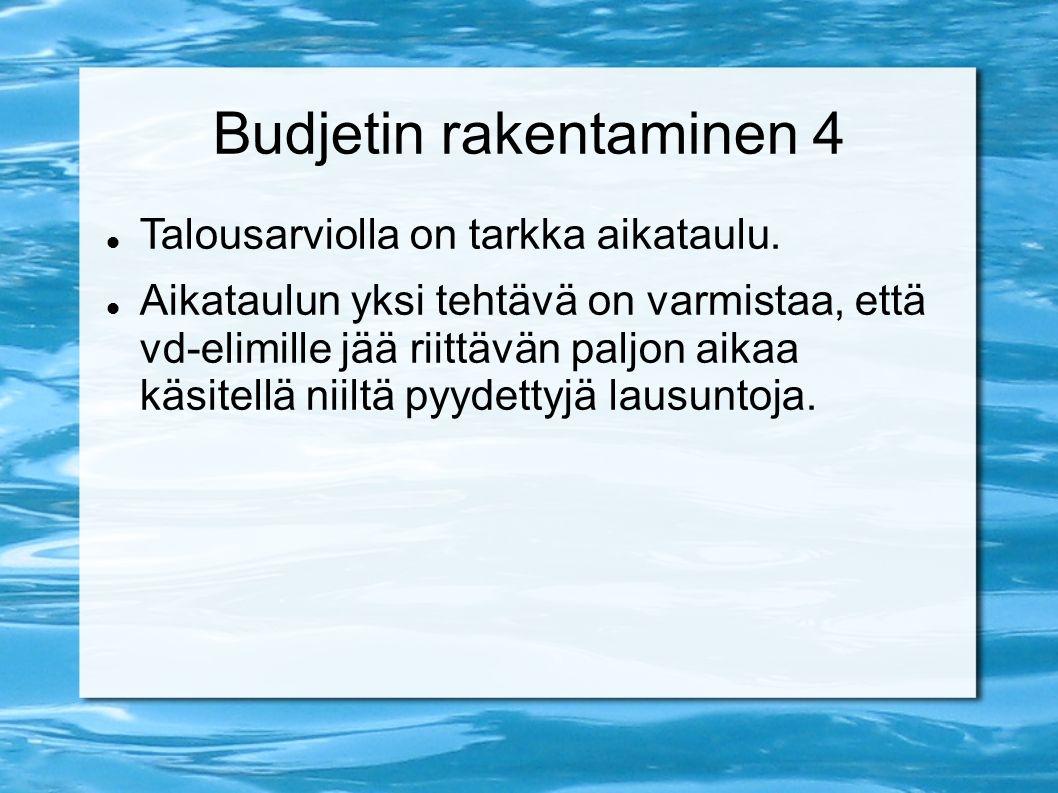 Budjetin rakentaminen 4 Talousarviolla on tarkka aikataulu.