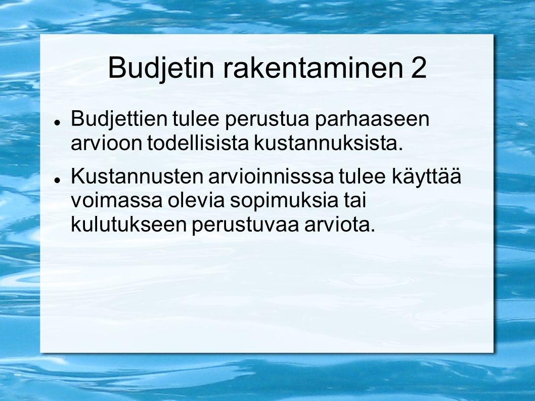 Budjetin rakentaminen 2 Budjettien tulee perustua parhaaseen arvioon todellisista kustannuksista.
