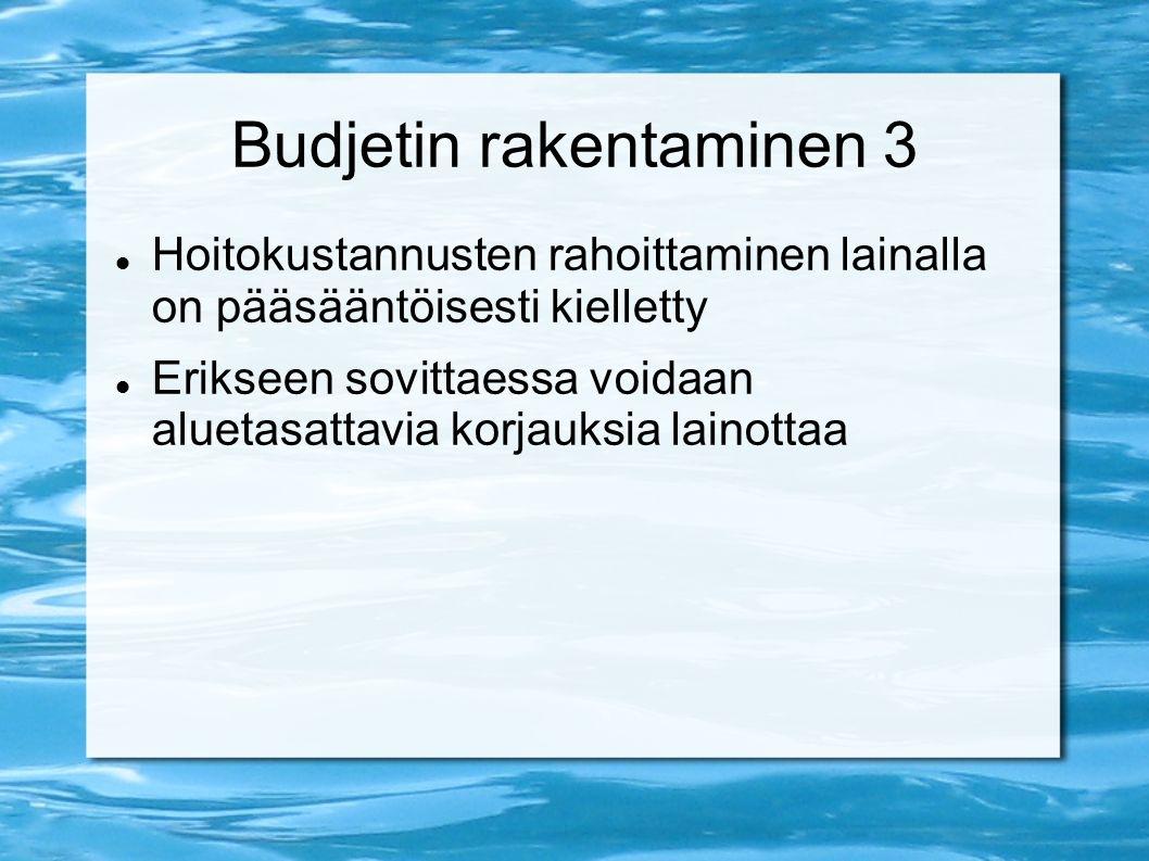 Budjetin rakentaminen 3 Hoitokustannusten rahoittaminen lainalla on pääsääntöisesti kielletty Erikseen sovittaessa voidaan aluetasattavia korjauksia lainottaa