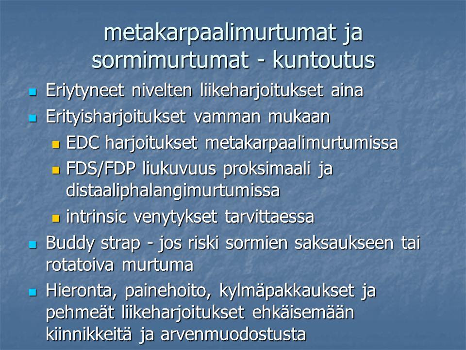 metakarpaalimurtumat ja sormimurtumat - kuntoutus Eriytyneet nivelten liikeharjoitukset aina Eriytyneet nivelten liikeharjoitukset aina Erityisharjoitukset vamman mukaan Erityisharjoitukset vamman mukaan EDC harjoitukset metakarpaalimurtumissa EDC harjoitukset metakarpaalimurtumissa FDS/FDP liukuvuus proksimaali ja distaaliphalangimurtumissa FDS/FDP liukuvuus proksimaali ja distaaliphalangimurtumissa intrinsic venytykset tarvittaessa intrinsic venytykset tarvittaessa Buddy strap - jos riski sormien saksaukseen tai rotatoiva murtuma Buddy strap - jos riski sormien saksaukseen tai rotatoiva murtuma Hieronta, painehoito, kylmäpakkaukset ja pehmeät liikeharjoitukset ehkäisemään kiinnikkeitä ja arvenmuodostusta Hieronta, painehoito, kylmäpakkaukset ja pehmeät liikeharjoitukset ehkäisemään kiinnikkeitä ja arvenmuodostusta