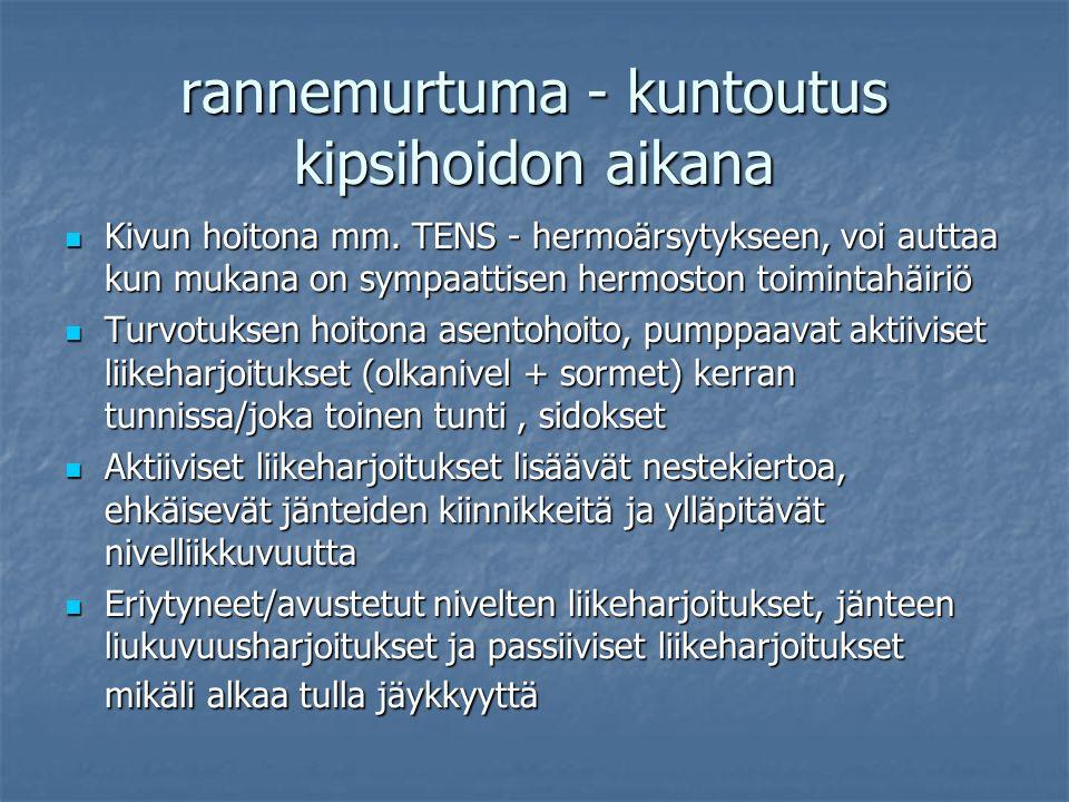rannemurtuma - kuntoutus kipsihoidon aikana Kivun hoitona mm.