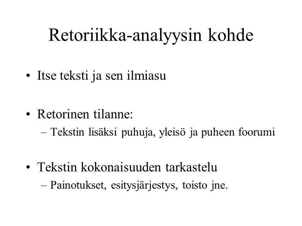 Retoriikka-analyysin kohde Itse teksti ja sen ilmiasu Retorinen tilanne: –Tekstin lisäksi puhuja, yleisö ja puheen foorumi Tekstin kokonaisuuden tarkastelu –Painotukset, esitysjärjestys, toisto jne.