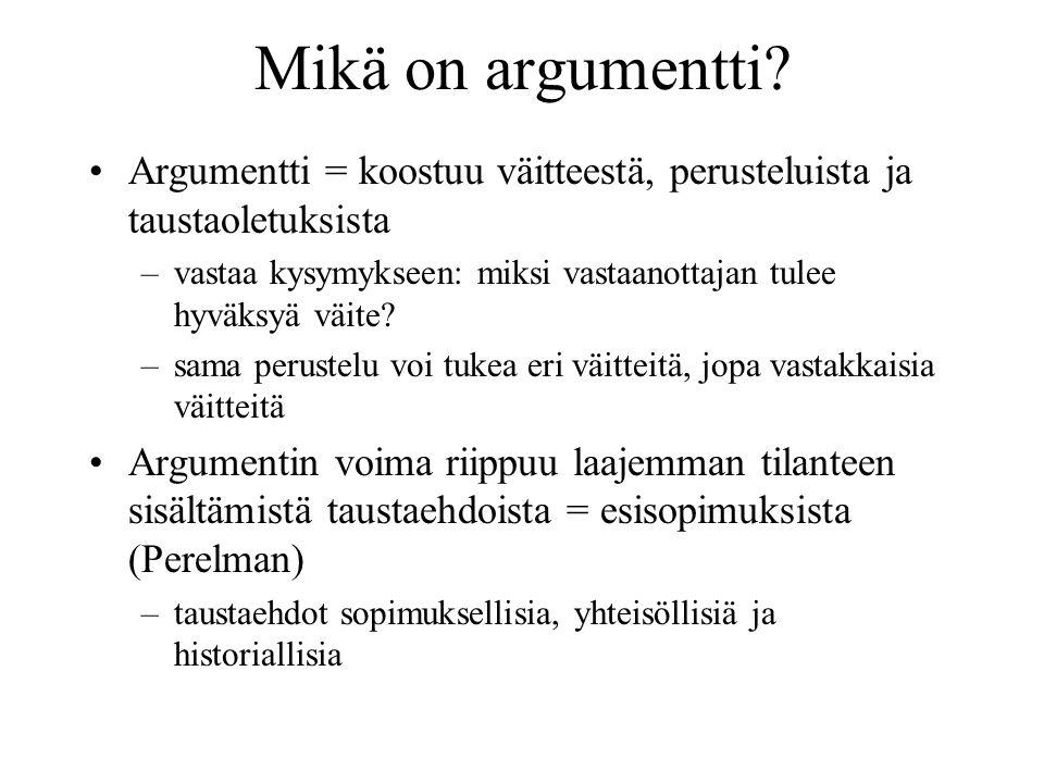 Mikä on argumentti.