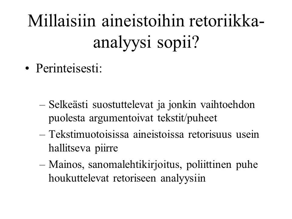 Millaisiin aineistoihin retoriikka- analyysi sopii.
