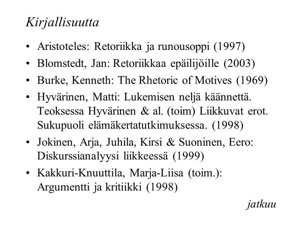 Kirjallisuutta Aristoteles: Retoriikka ja runousoppi (1997) Blomstedt, Jan: Retoriikkaa epäilijöille (2003) Burke, Kenneth: The Rhetoric of Motives (1969) Hyvärinen, Matti: Lukemisen neljä käännettä.