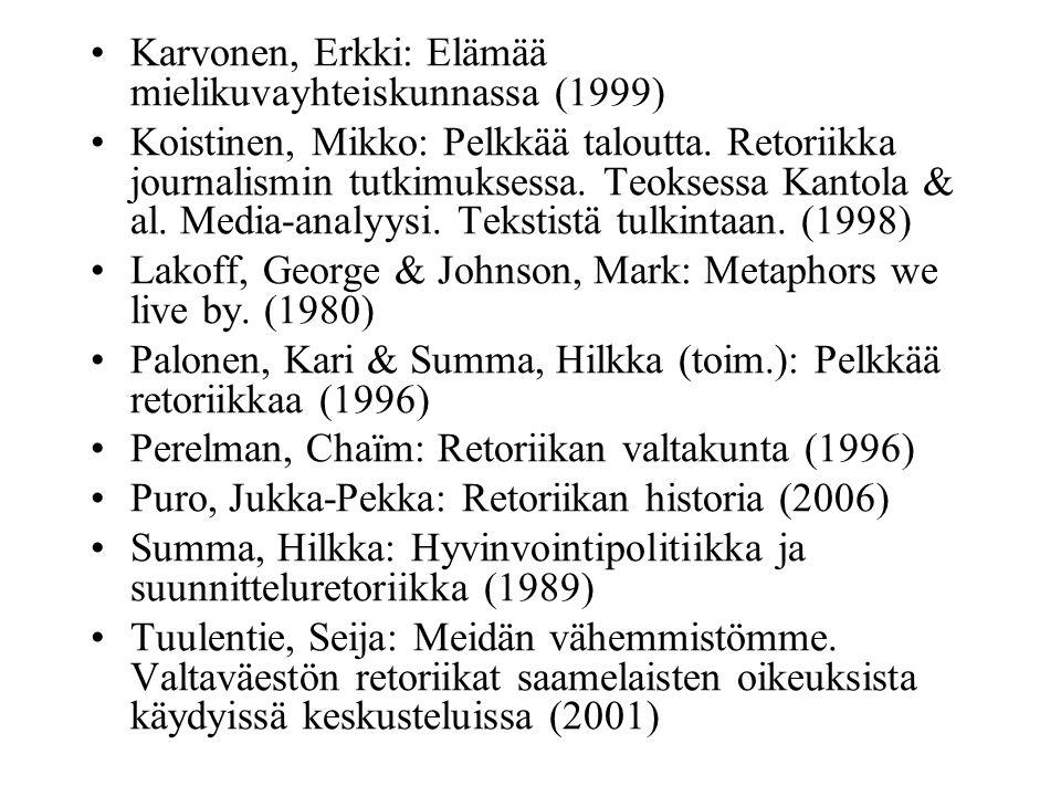 Karvonen, Erkki: Elämää mielikuvayhteiskunnassa (1999) Koistinen, Mikko: Pelkkää taloutta.