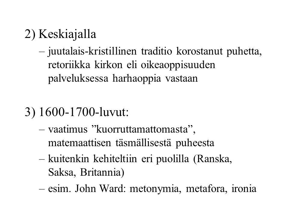 2) Keskiajalla –juutalais-kristillinen traditio korostanut puhetta, retoriikka kirkon eli oikeaoppisuuden palveluksessa harhaoppia vastaan 3) 1600-1700-luvut: –vaatimus kuorruttamattomasta , matemaattisen täsmällisestä puheesta –kuitenkin kehiteltiin eri puolilla (Ranska, Saksa, Britannia) –esim.