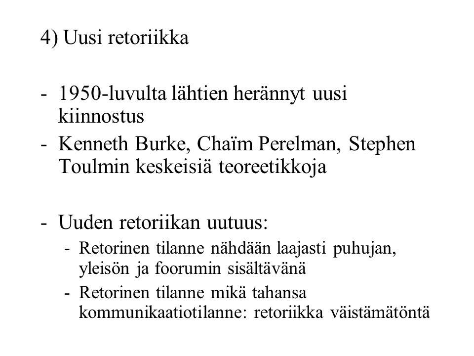 4) Uusi retoriikka -1950-luvulta lähtien herännyt uusi kiinnostus -Kenneth Burke, Chaïm Perelman, Stephen Toulmin keskeisiä teoreetikkoja -Uuden retoriikan uutuus: -Retorinen tilanne nähdään laajasti puhujan, yleisön ja foorumin sisältävänä -Retorinen tilanne mikä tahansa kommunikaatiotilanne: retoriikka väistämätöntä
