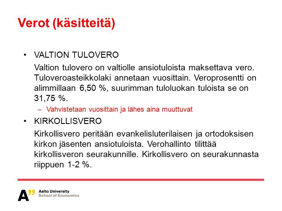 Verot (käsitteitä) VALTION TULOVERO Valtion tulovero on valtiolle ansiotuloista maksettava vero.