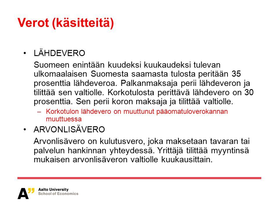Verot (käsitteitä) LÄHDEVERO Suomeen enintään kuudeksi kuukaudeksi tulevan ulkomaalaisen Suomesta saamasta tulosta peritään 35 prosenttia lähdeveroa.