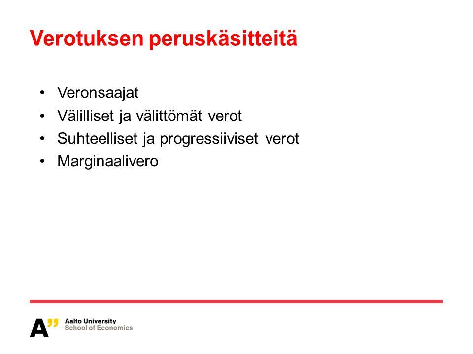 Verotuksen peruskäsitteitä Veronsaajat Välilliset ja välittömät verot Suhteelliset ja progressiiviset verot Marginaalivero