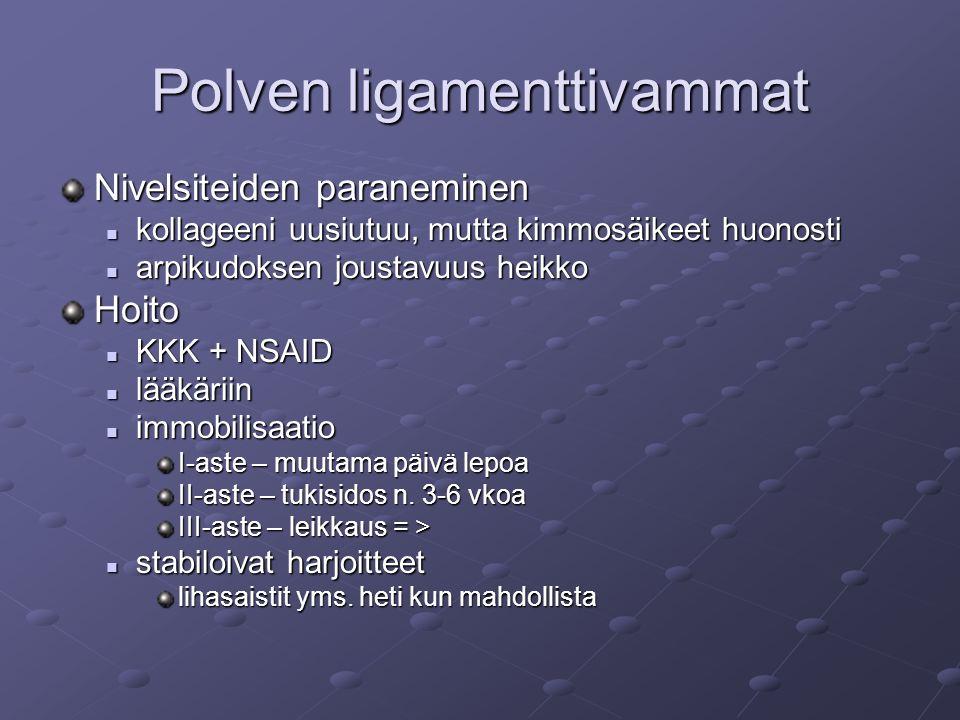 Polven ligamenttivammat Nivelsiteiden paraneminen kollageeni uusiutuu, mutta kimmosäikeet huonosti kollageeni uusiutuu, mutta kimmosäikeet huonosti arpikudoksen joustavuus heikko arpikudoksen joustavuus heikkoHoito KKK + NSAID KKK + NSAID lääkäriin lääkäriin immobilisaatio immobilisaatio I-aste – muutama päivä lepoa II-aste – tukisidos n.