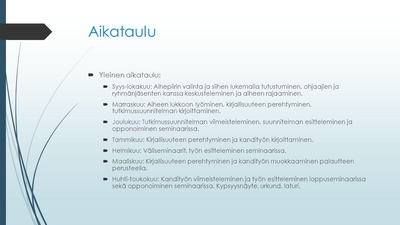 Aikataulu  Yleinen aikataulu:  Syys-lokakuu: Aihepiirin valinta ja siihen lukemalla tutustuminen, ohjaajien ja ryhmänjäsenten kanssa keskusteleminen ja aiheen rajaaminen.