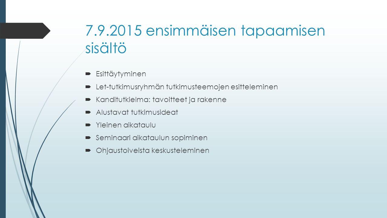 7.9.2015 ensimmäisen tapaamisen sisältö  Esittäytyminen  Let-tutkimusryhmän tutkimusteemojen esitteleminen  Kanditutkielma: tavoitteet ja rakenne  Alustavat tutkimusideat  Yleinen aikataulu  Seminaari aikataulun sopiminen  Ohjaustoiveista keskusteleminen