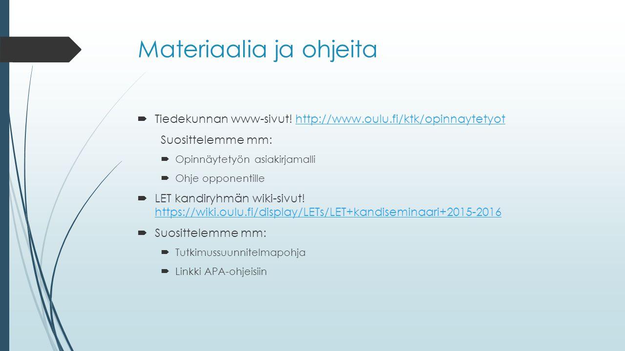 Materiaalia ja ohjeita  Tiedekunnan www-sivut.