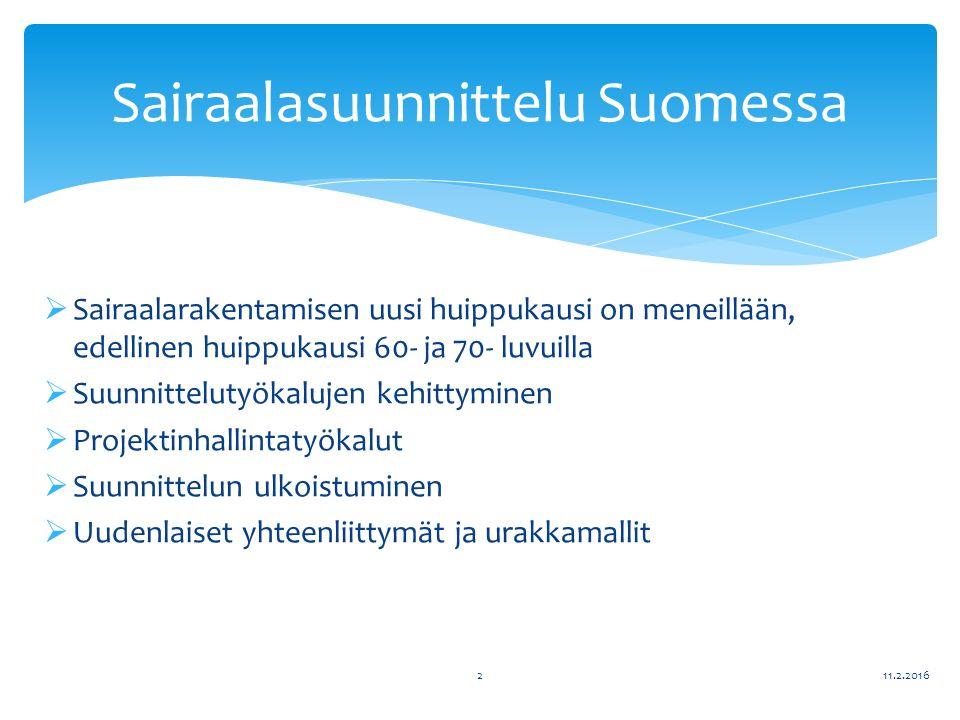 Sairaalarakentamisen uusi huippukausi on meneillään, edellinen huippukausi 60- ja 70- luvuilla  Suunnittelutyökalujen kehittyminen  Projektinhallintatyökalut  Suunnittelun ulkoistuminen  Uudenlaiset yhteenliittymät ja urakkamallit 11.2.20162 Sairaalasuunnittelu Suomessa