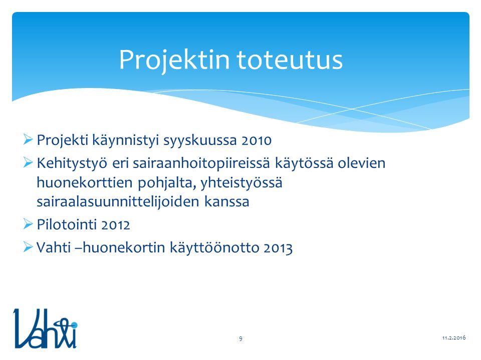  Projekti käynnistyi syyskuussa 2010  Kehitystyö eri sairaanhoitopiireissä käytössä olevien huonekorttien pohjalta, yhteistyössä sairaalasuunnittelijoiden kanssa  Pilotointi 2012  Vahti –huonekortin käyttöönotto 2013 11.2.20169 Projektin toteutus