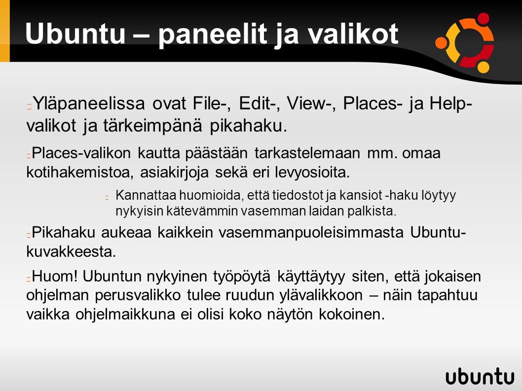 Ubuntu – paneelit ja valikot Yläpaneelissa ovat File-, Edit-, View-, Places- ja Help- valikot ja tärkeimpänä pikahaku.