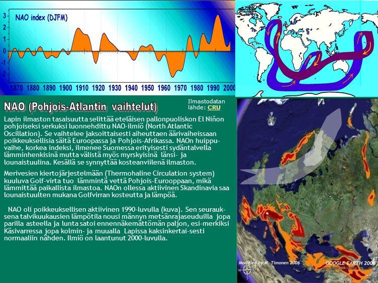 Lapin ilmaston tasaisuutta selittää eteläisen pallonpuoliskon El Niňon pohjoiseksi serkuksi luonnehdittu NAO-ilmiö (North Atlantic Oscillation).