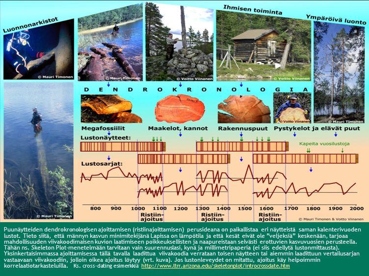 Puunäytteiden dendrokronologisen ajoittamisen (ristiinajoittamisen) perusideana on paikallistaa eri näytteistä saman kalenterivuoden lustot.