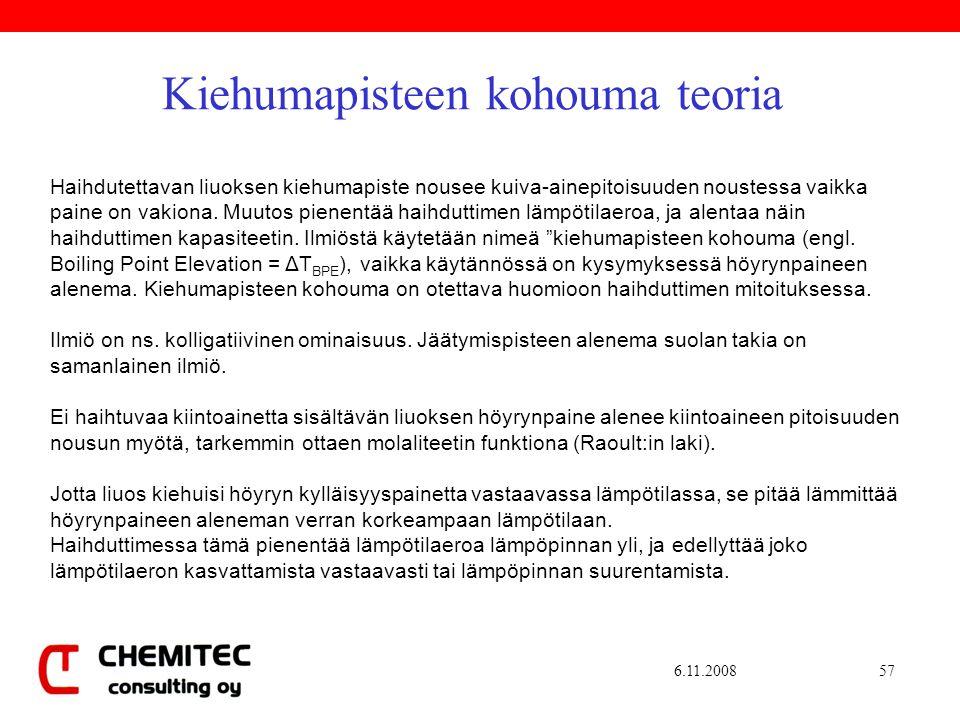 6.11.200857 Kiehumapisteen kohouma teoria Haihdutettavan liuoksen kiehumapiste nousee kuiva-ainepitoisuuden noustessa vaikka paine on vakiona.