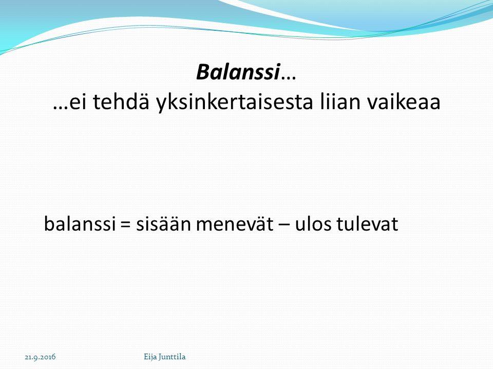 Balanssi… …ei tehdä yksinkertaisesta liian vaikeaa balanssi = sisään menevät – ulos tulevat 21.9.2016Eija Junttila