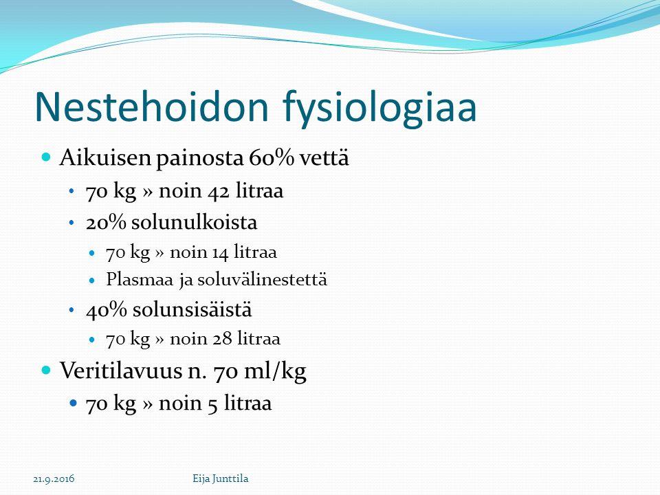 Nestehoidon fysiologiaa Aikuisen painosta 60% vettä 70 kg » noin 42 litraa 20% solunulkoista 70 kg » noin 14 litraa Plasmaa ja soluvälinestettä 40% solunsisäistä 70 kg » noin 28 litraa Veritilavuus n.