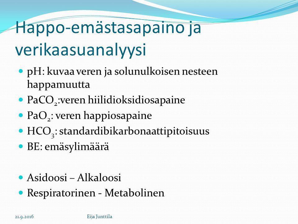 Happo-emästasapaino ja verikaasuanalyysi pH: kuvaa veren ja solunulkoisen nesteen happamuutta PaCO 2 :veren hiilidioksidiosapaine PaO 2 : veren happiosapaine HCO 3 : standardibikarbonaattipitoisuus BE: emäsylimäärä Asidoosi – Alkaloosi Respiratorinen - Metabolinen 21.9.2016Eija Junttila