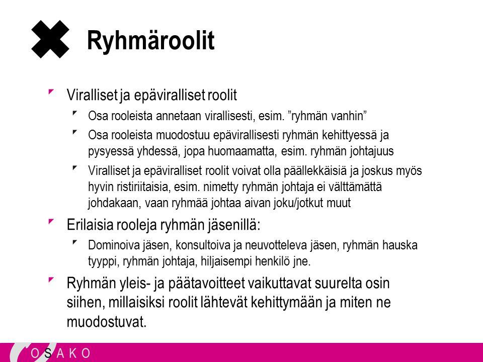 Ryhmäroolit Viralliset ja epäviralliset roolit Osa rooleista annetaan virallisesti, esim.