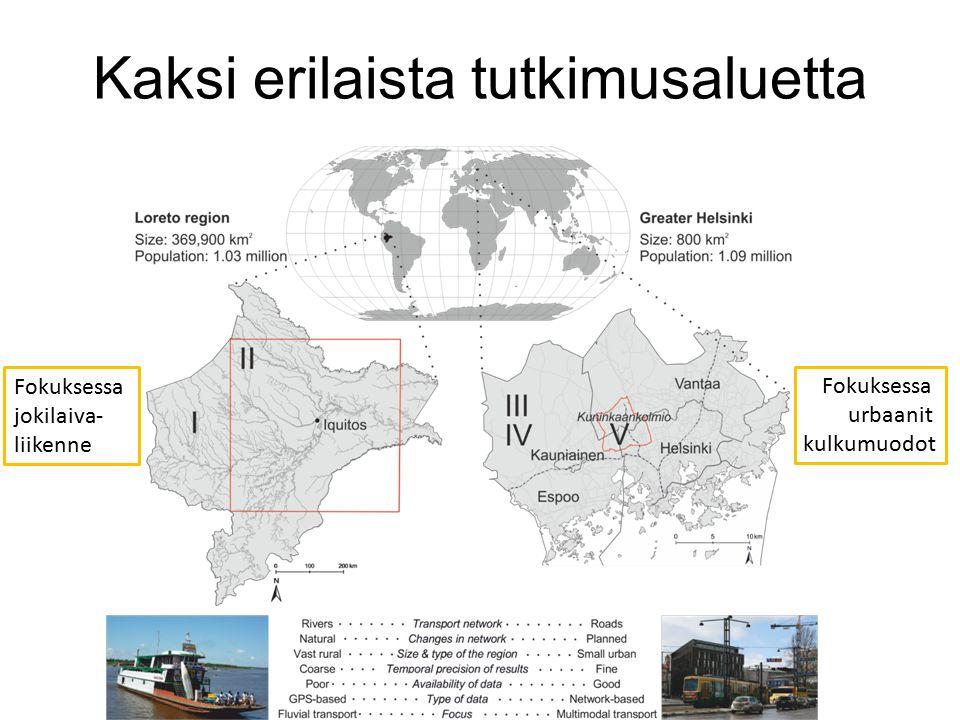 Kaksi erilaista tutkimusaluetta Fokuksessa jokilaiva- liikenne Fokuksessa urbaanit kulkumuodot