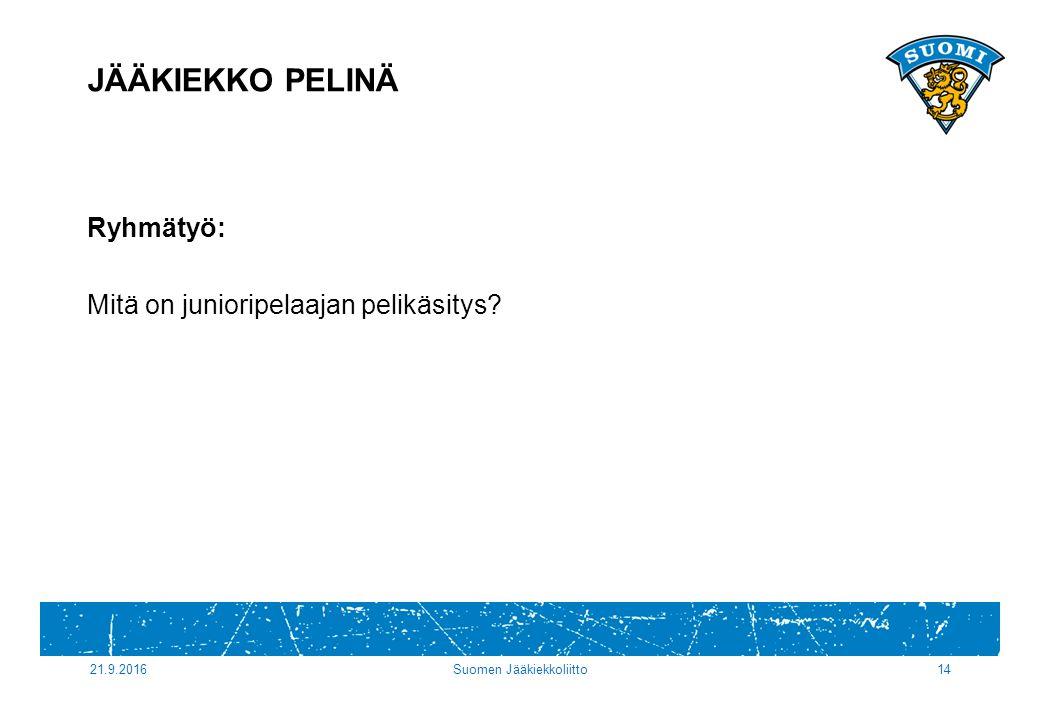 21.9.2016Suomen Jääkiekkoliitto14 Ryhmätyö: Mitä on junioripelaajan pelikäsitys JÄÄKIEKKO PELINÄ