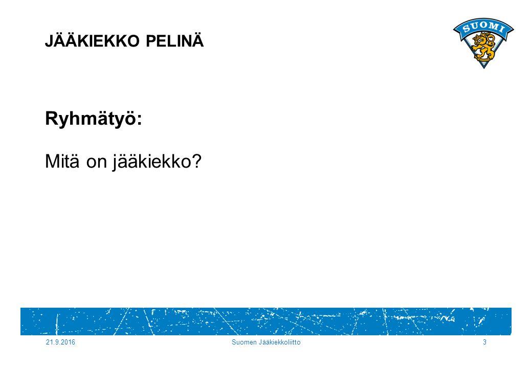 21.9.2016Suomen Jääkiekkoliitto3 Ryhmätyö: Mitä on jääkiekko JÄÄKIEKKO PELINÄ