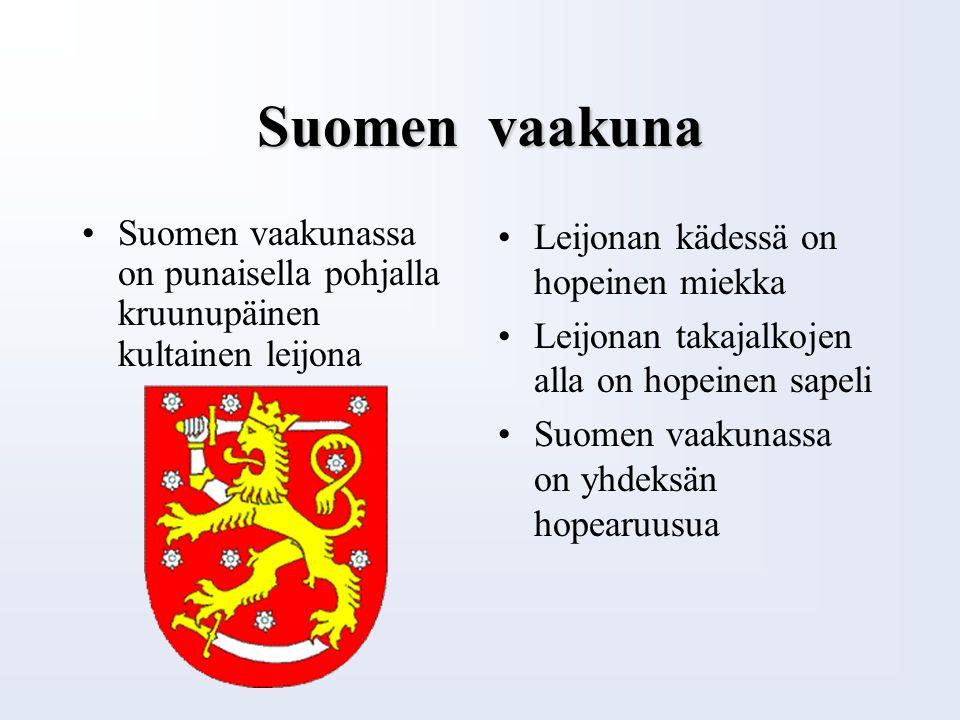 Suomen lippu Suomi sai oman lippunsa 28.05.1918 Suomen lippu on ristilippu kuten kaikilla pohjoismailla Suomen lipussa on valkoisella pohjalla sininen risti