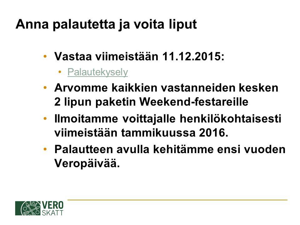 Anna palautetta ja voita liput Vastaa viimeistään 11.12.2015: Palautekysely Arvomme kaikkien vastanneiden kesken 2 lipun paketin Weekend-festareille Ilmoitamme voittajalle henkilökohtaisesti viimeistään tammikuussa 2016.