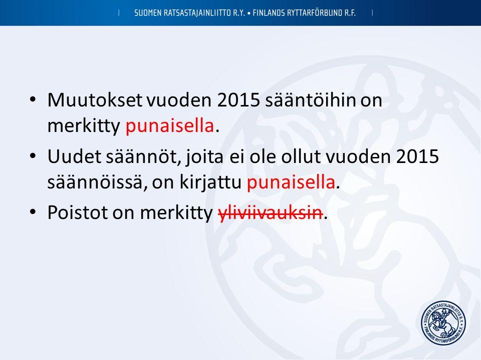 Muutokset vuoden 2015 sääntöihin on merkitty punaisella.