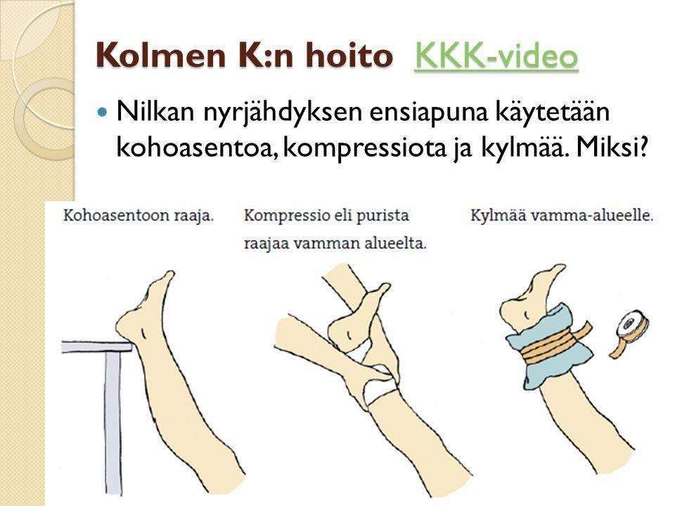 Kolmen K:n hoito KKK-video KKK-video Nilkan nyrjähdyksen ensiapuna käytetään kohoasentoa, kompressiota ja kylmää.