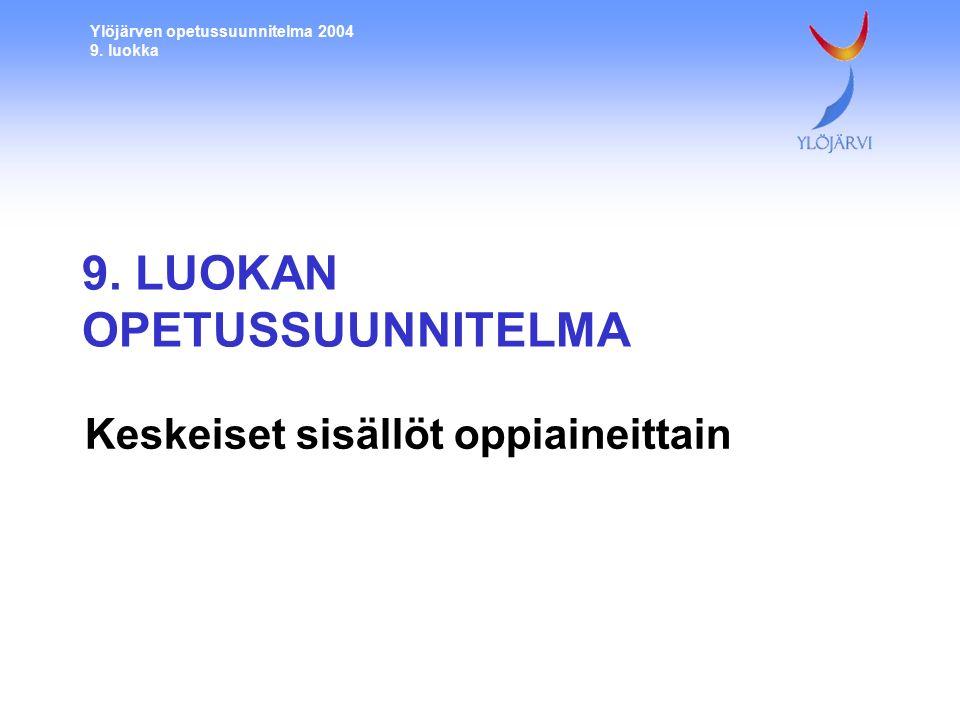 Ylöjärven opetussuunnitelma 2004 9. luokka 9.
