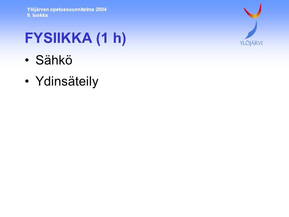 Ylöjärven opetussuunnitelma 2004 9. luokka FYSIIKKA (1 h) Sähkö Ydinsäteily