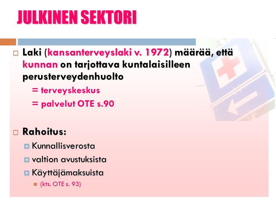 JULKINEN SEKTORI  Laki (kansanterveyslaki v.