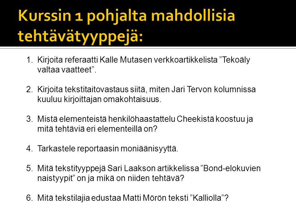 1.Kirjoita referaatti Kalle Mutasen verkkoartikkelista Tekoäly valtaa vaatteet .