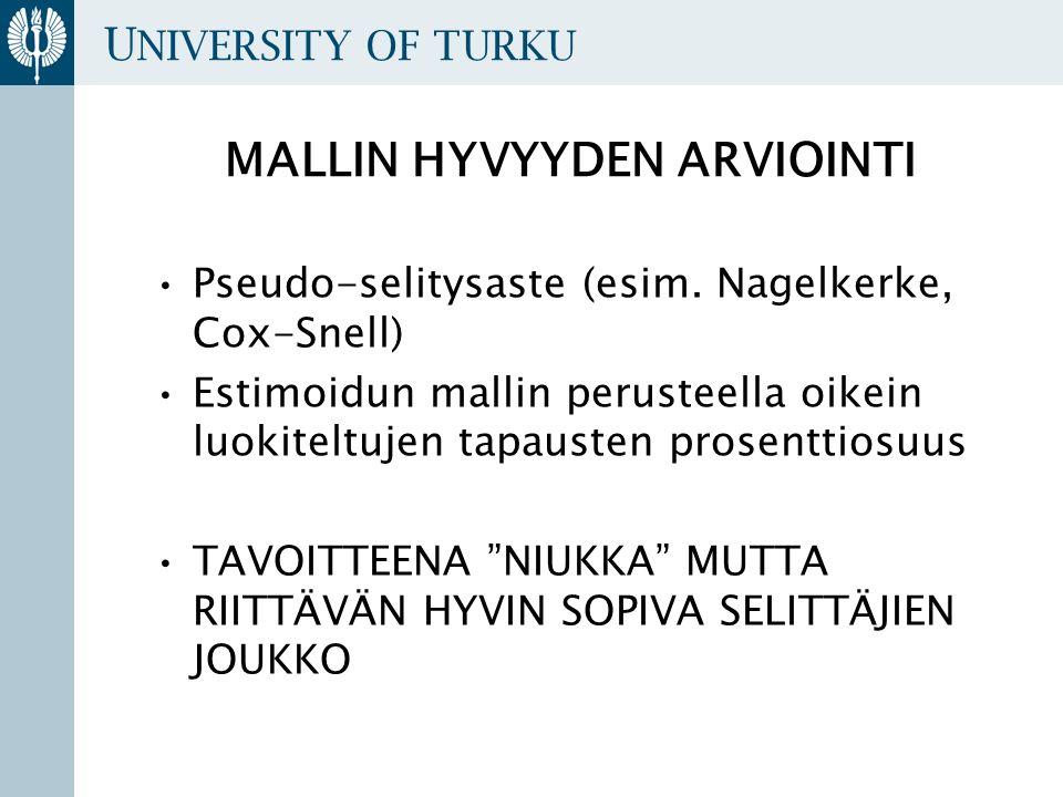 U NIVERSITY OF TURKU MALLIN HYVYYDEN ARVIOINTI Pseudo-selitysaste (esim.
