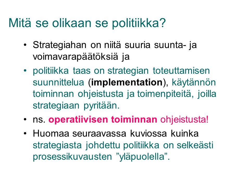 Mitä se olikaan se politiikka Strategiahan on niitä suuria suunta- ja voimavarapäätöksiä ja….