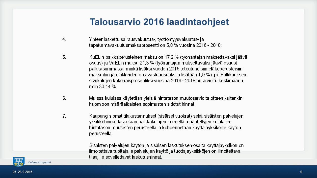 Talousarvio 2016 laadintaohjeet 25.-26.9.20156
