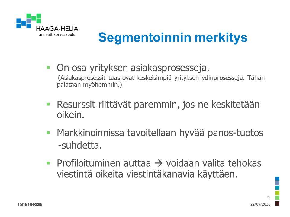 22/09/2016Tarja Heikkilä 15 Segmentoinnin merkitys  On osa yrityksen asiakasprosesseja.