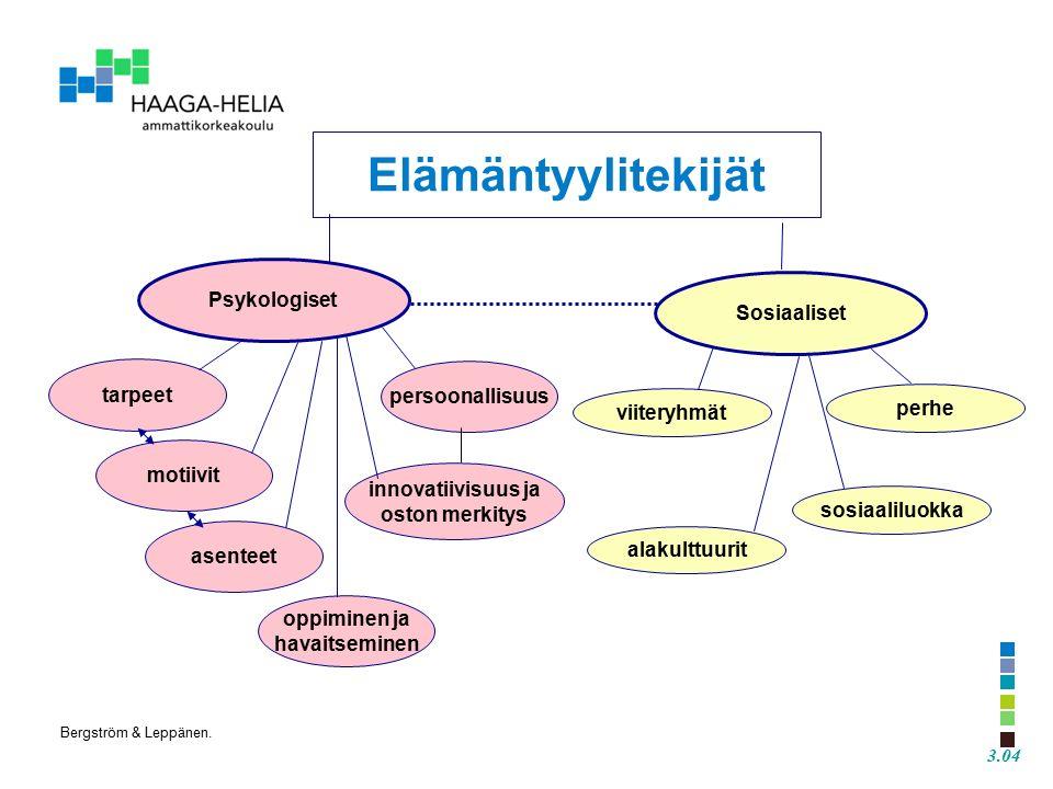 tarpeet motiivit oppiminen ja havaitseminen innovatiivisuus ja oston merkitys viiteryhmät alakulttuurit perhe sosiaaliluokka Elämäntyylitekijät Psykologiset Sosiaaliset persoonallisuus asenteet 3.04 Bergström & Leppänen.