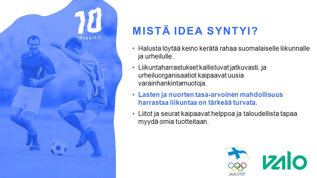 MISTÄ IDEA SYNTYI. Halusta löytää keino kerätä rahaa suomalaiselle liikunnalle ja urheilulle.