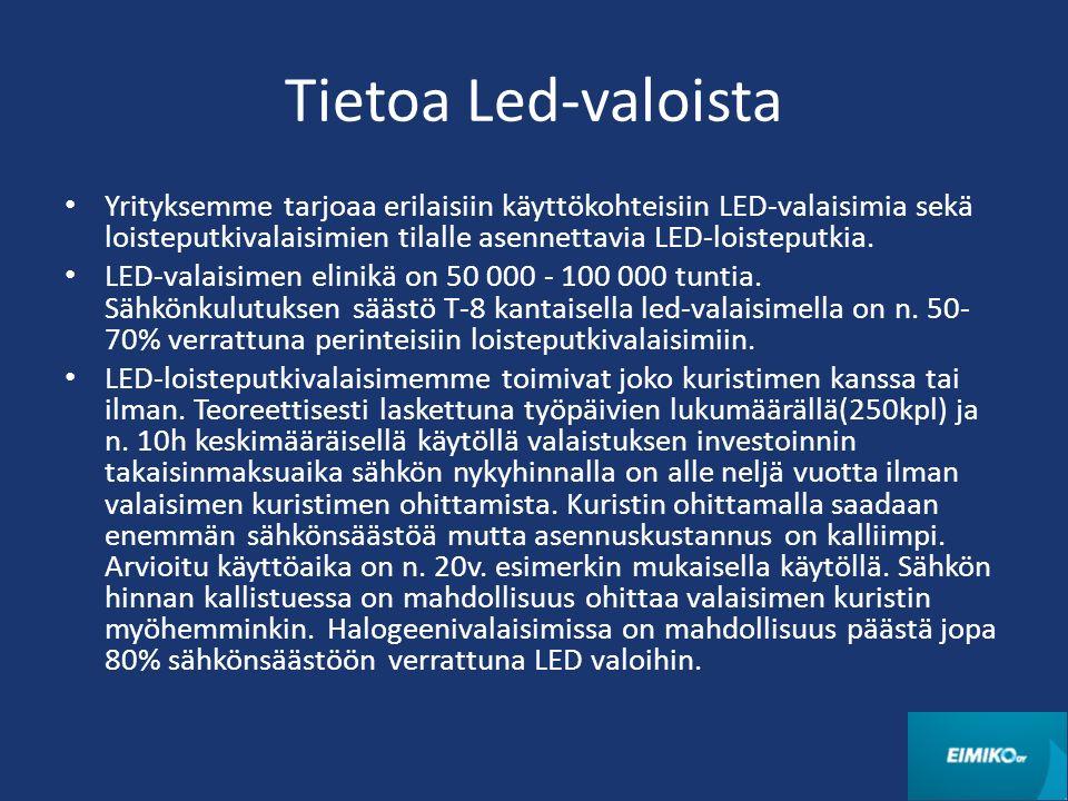 Tietoa Led-valoista Yrityksemme tarjoaa erilaisiin käyttökohteisiin LED-valaisimia sekä loisteputkivalaisimien tilalle asennettavia LED-loisteputkia.