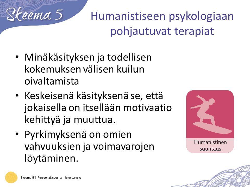Humanistiseen psykologiaan pohjautuvat terapiat Minäkäsityksen ja todellisen kokemuksen välisen kuilun oivaltamista Keskeisenä käsityksenä se, että jokaisella on itsellään motivaatio kehittyä ja muuttua.