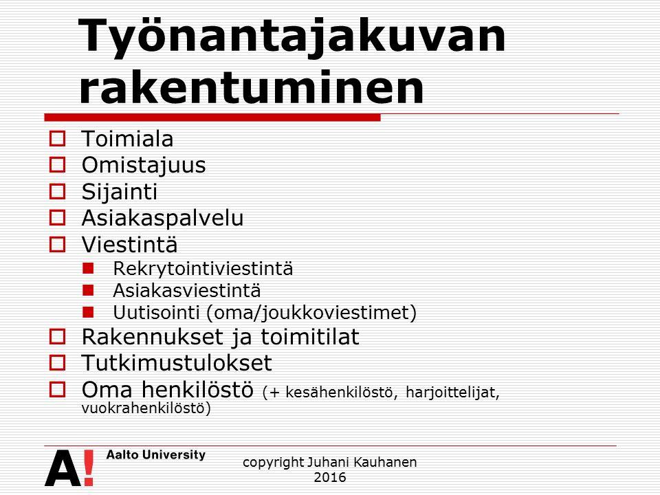 Työnantajakuvan rakentuminen  Toimiala  Omistajuus  Sijainti  Asiakaspalvelu  Viestintä Rekrytointiviestintä Asiakasviestintä Uutisointi (oma/joukkoviestimet)  Rakennukset ja toimitilat  Tutkimustulokset  Oma henkilöstö (+ kesähenkilöstö, harjoittelijat, vuokrahenkilöstö) copyright Juhani Kauhanen 2016
