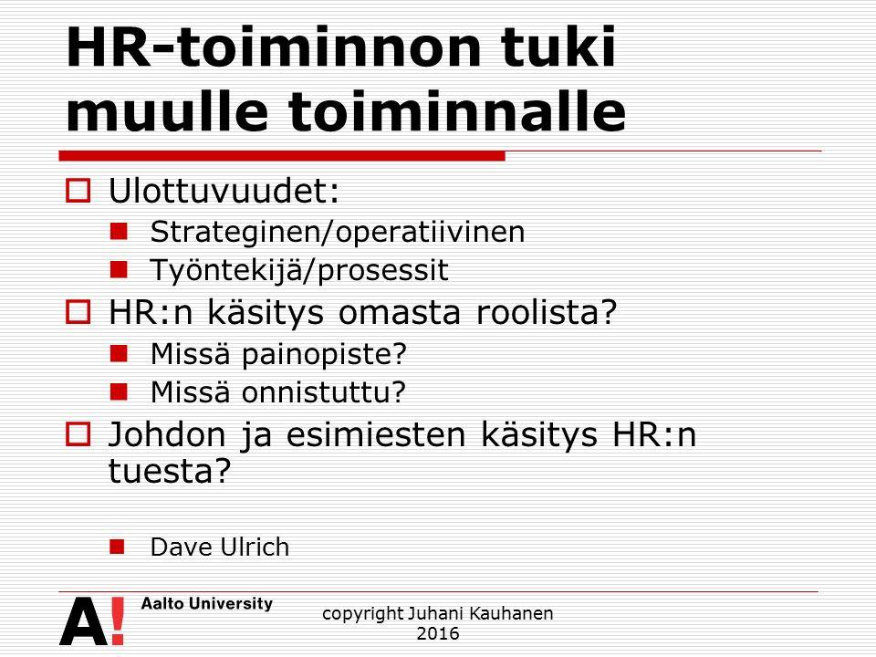 HR-toiminnon tuki muulle toiminnalle  Ulottuvuudet: Strateginen/operatiivinen Työntekijä/prosessit  HR:n käsitys omasta roolista.